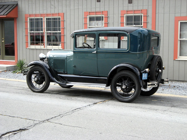 The completely restored 1929 Model A Tudor Sedan out on a test drive.